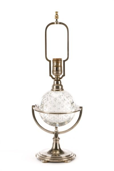 Controlled Bubble Glass Table Lamp, Steuben (Attr)