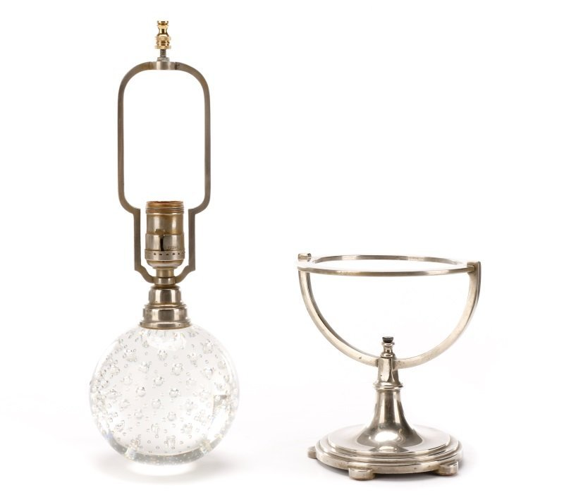 Controlled Bubble Glass Table Lamp, Steuben (Attr) - 8