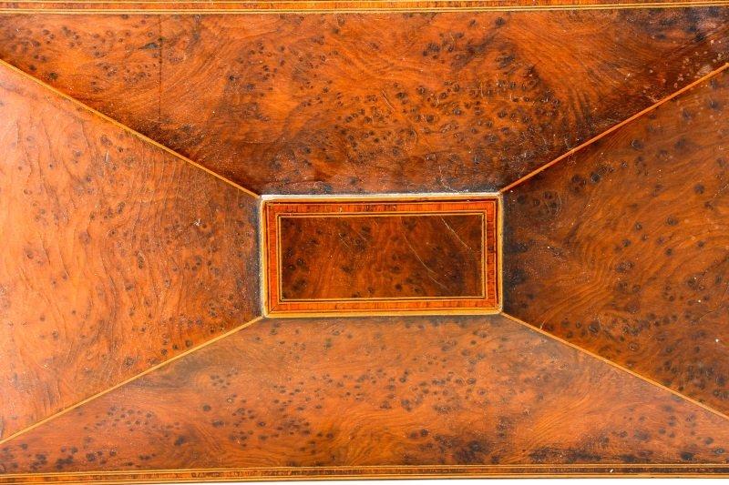 English Regency Burled Wood Tea Caddy - 4