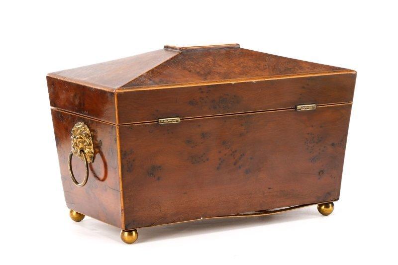 English Regency Burled Wood Tea Caddy - 6