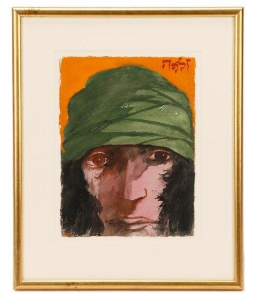 """Leonard Baskin, """"Portrait Of A Man"""", Watercolor"""