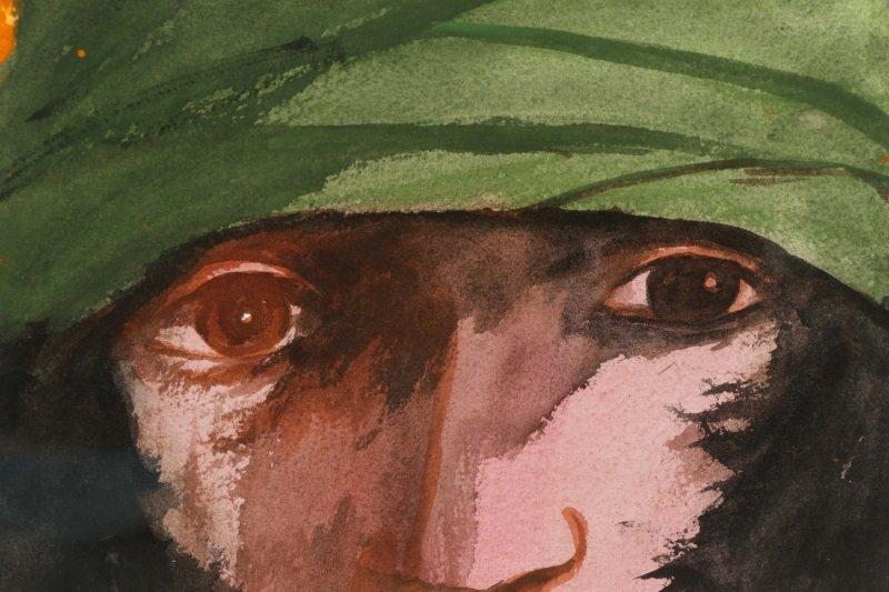 """Leonard Baskin, """"Portrait Of A Man"""", Watercolor - 3"""