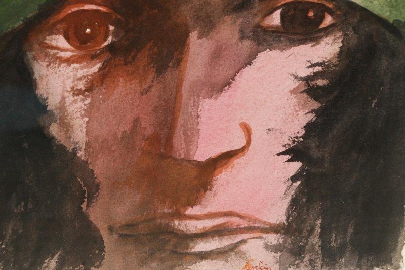 """Leonard Baskin, """"Portrait Of A Man"""", Watercolor - 4"""
