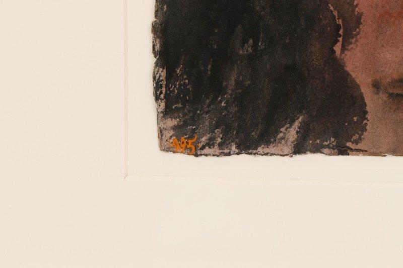 """Leonard Baskin, """"Portrait Of A Man"""", Watercolor - 5"""