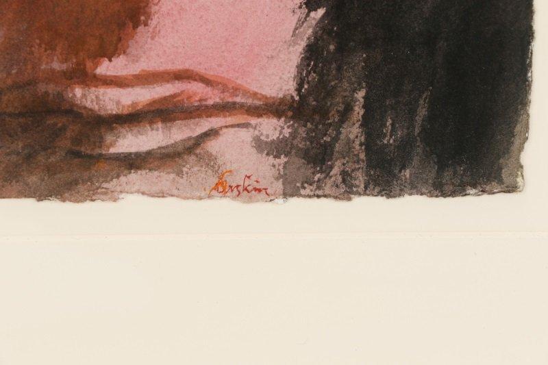 """Leonard Baskin, """"Portrait Of A Man"""", Watercolor - 6"""