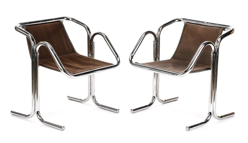 Pair of 'Arcadia' Chrome Chairs by Jerry Johnson