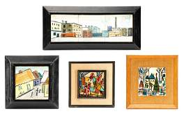 Four Harris Strong Modern Paintings on Tile
