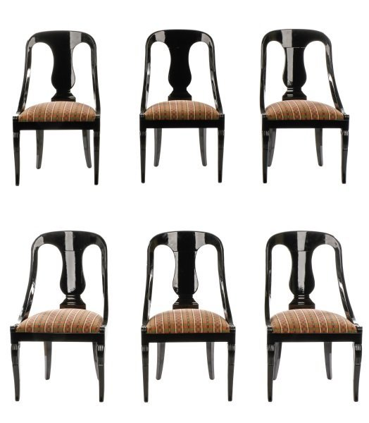 Set of 6 Black Lacquered Gondola Dining Chairs