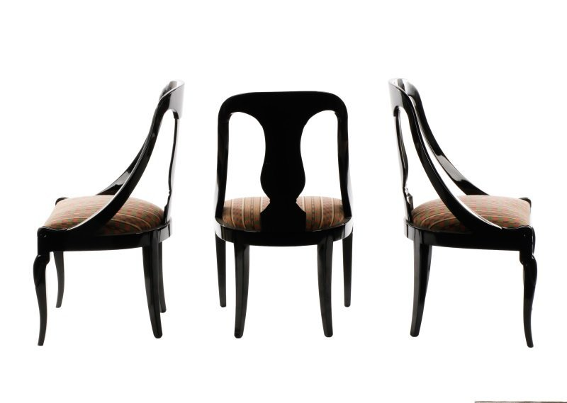 Set of 6 Black Lacquered Gondola Dining Chairs - 2