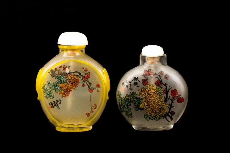 2 Fine Reverse Painted Glass Snuff Bottles, Signed