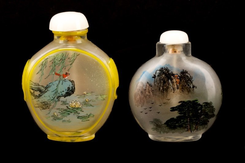2 Fine Reverse Painted Glass Snuff Bottles, Signed - 2