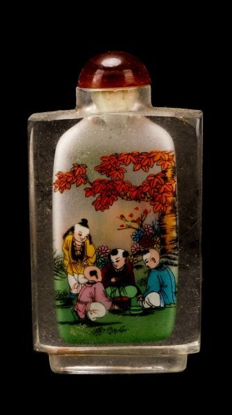 Three Reverse Painted Glass Snuff Bottles - 4