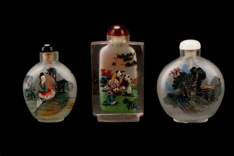 Three Reverse Painted Glass Snuff Bottles - 5
