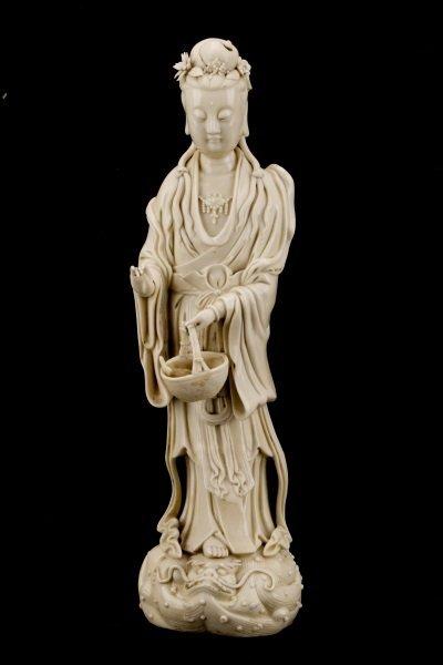 Fine Dehua Blanc de Chine Figure, Standing Guanyin