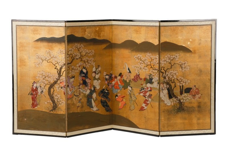 Hand Painted Japanese Table Screen, Cherry Blossom