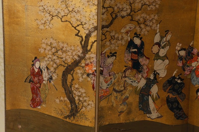 Hand Painted Japanese Table Screen, Cherry Blossom - 2