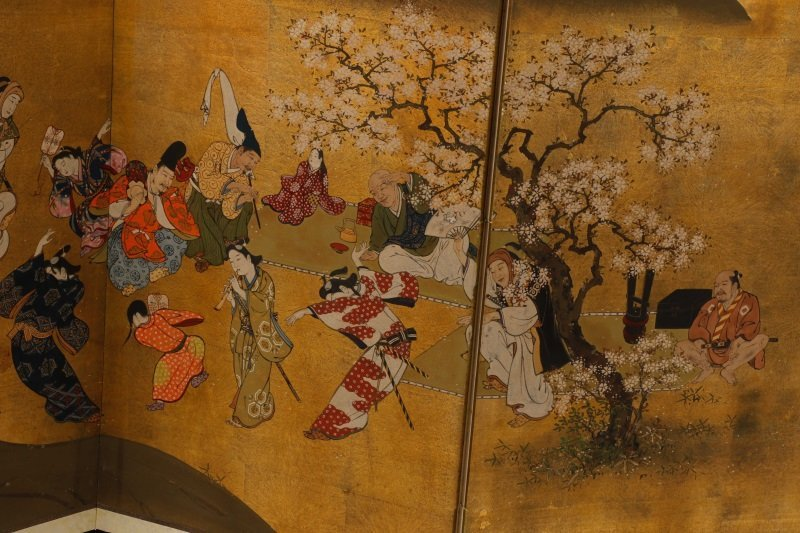 Hand Painted Japanese Table Screen, Cherry Blossom - 3