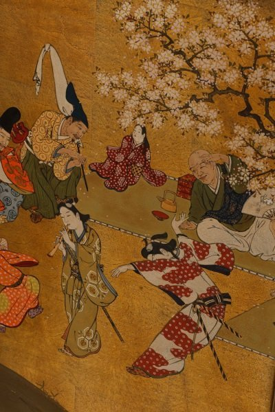 Hand Painted Japanese Table Screen, Cherry Blossom - 5