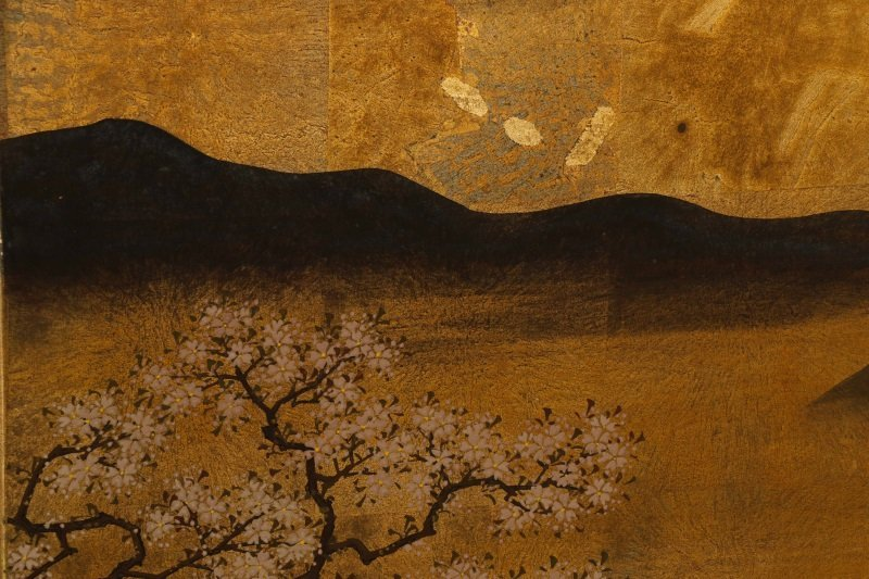 Hand Painted Japanese Table Screen, Cherry Blossom - 6