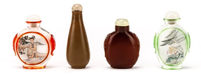 Collection of Four Asian Glass Snuff Bottles