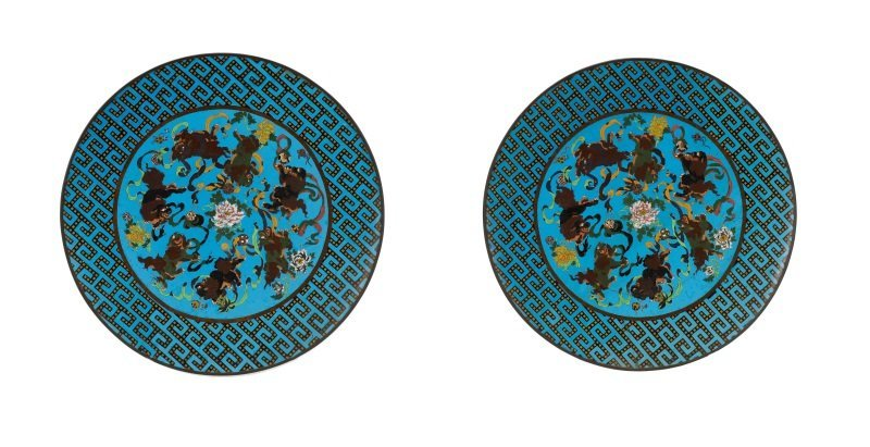 Pair of Vibrant Blue Palatial Cloisonne Chargers