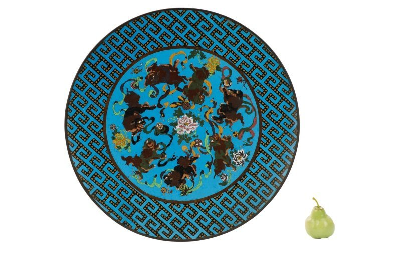 Pair of Vibrant Blue Palatial Cloisonne Chargers - 2