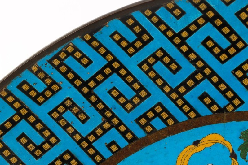 Pair of Vibrant Blue Palatial Cloisonne Chargers - 7
