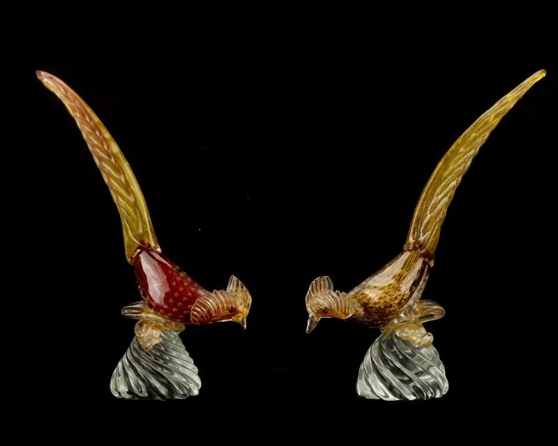 Pair, Murano Glass Pheasants, Attributed to Seguso