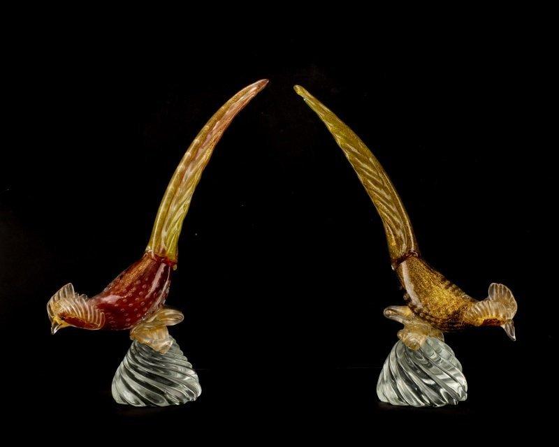 Pair, Murano Glass Pheasants, Attributed to Seguso - 2