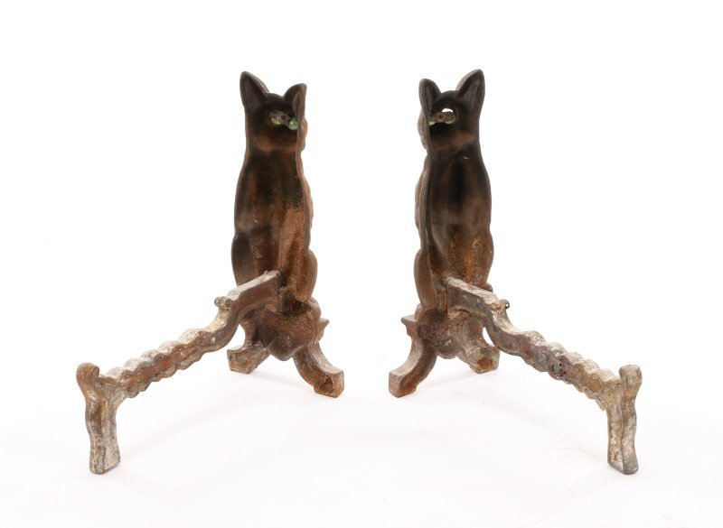 Charming Figural Cat Firedogs w/ Green Glass Eyes - 2