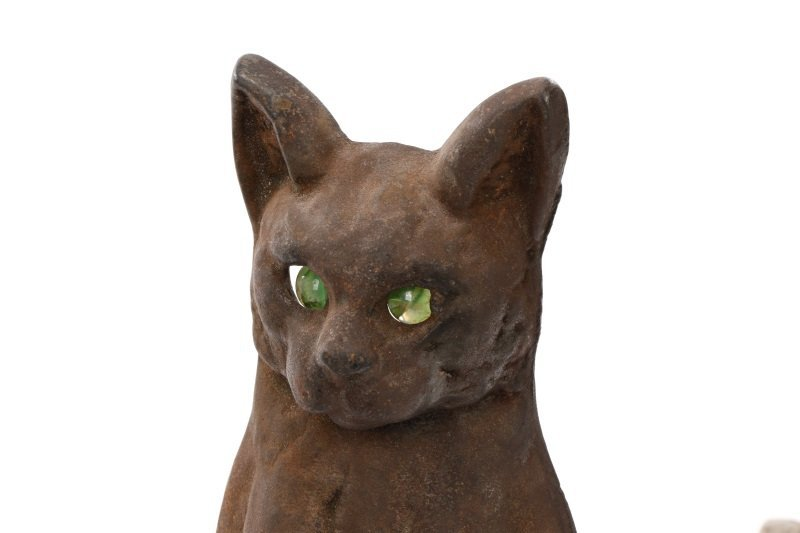 Charming Figural Cat Firedogs w/ Green Glass Eyes - 3