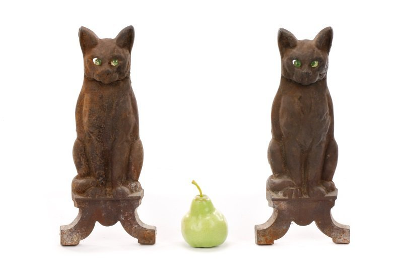 Charming Figural Cat Firedogs w/ Green Glass Eyes - 9