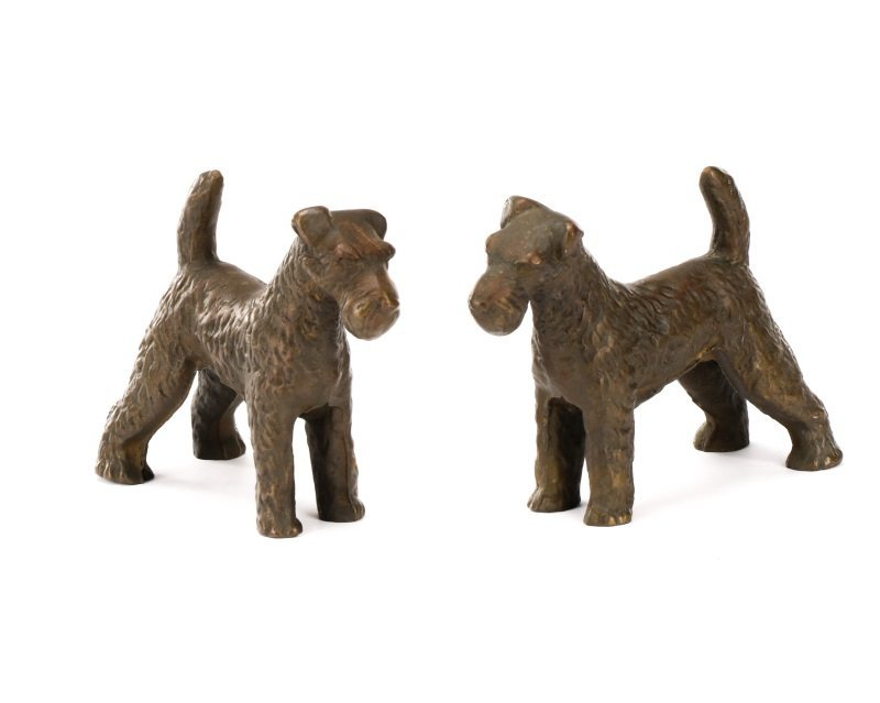 Pair of Hubley Style Cast Iron Airedale Terriers