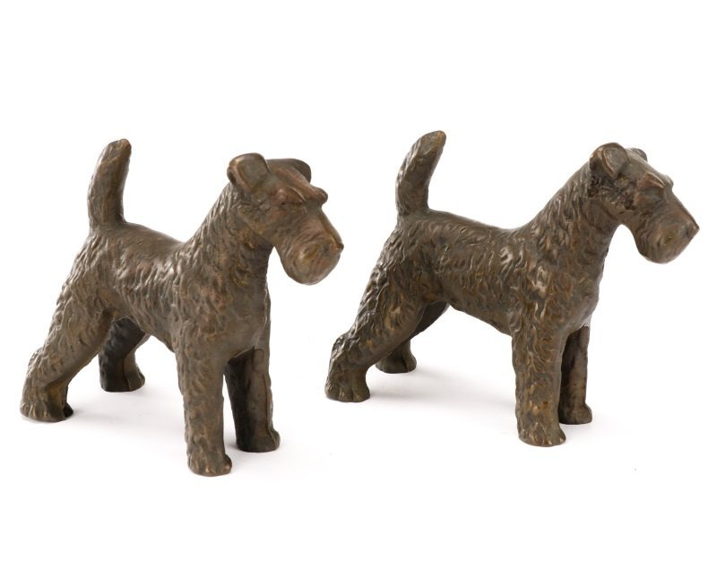 Pair of Hubley Style Cast Iron Airedale Terriers - 2