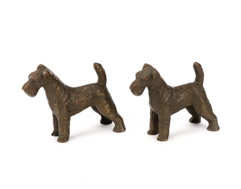 Pair of Hubley Style Cast Iron Airedale Terriers - 3