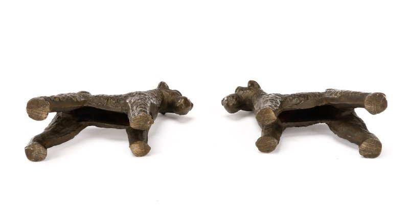 Pair of Hubley Style Cast Iron Airedale Terriers - 4