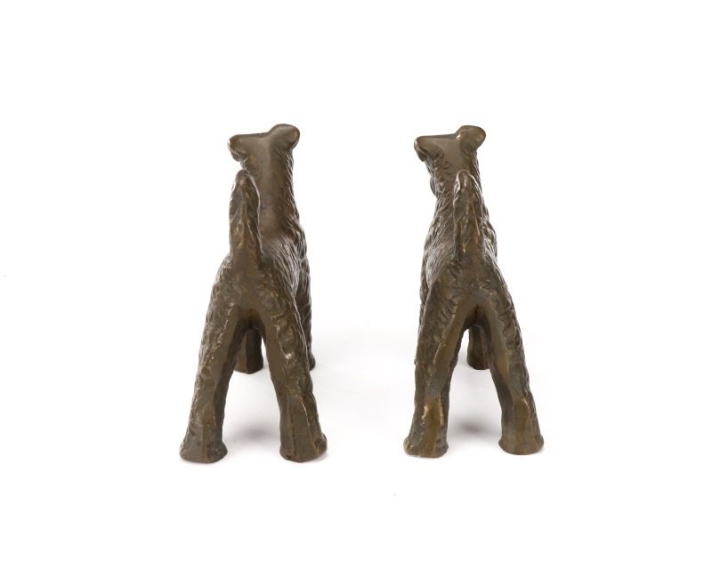 Pair of Hubley Style Cast Iron Airedale Terriers - 5