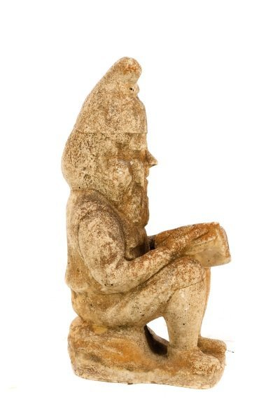 "Cast Stone Garden Sculpture, ""Reading Gnome"" - 5"