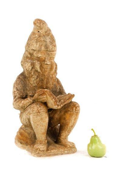 "Cast Stone Garden Sculpture, ""Reading Gnome"" - 9"