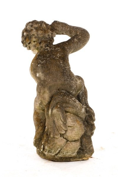Cast Stone Garden Fountain, Putto with Dolphin - 3