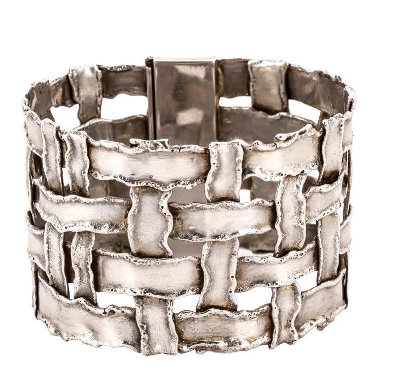 Cummings Style Woven Sterling Silver Bracelet