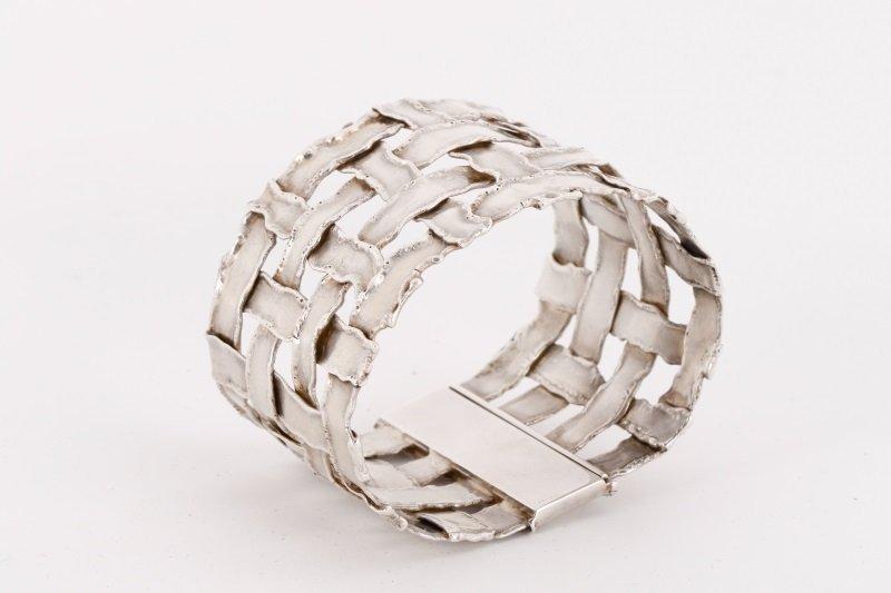 Cummings Style Woven Sterling Silver Bracelet - 3