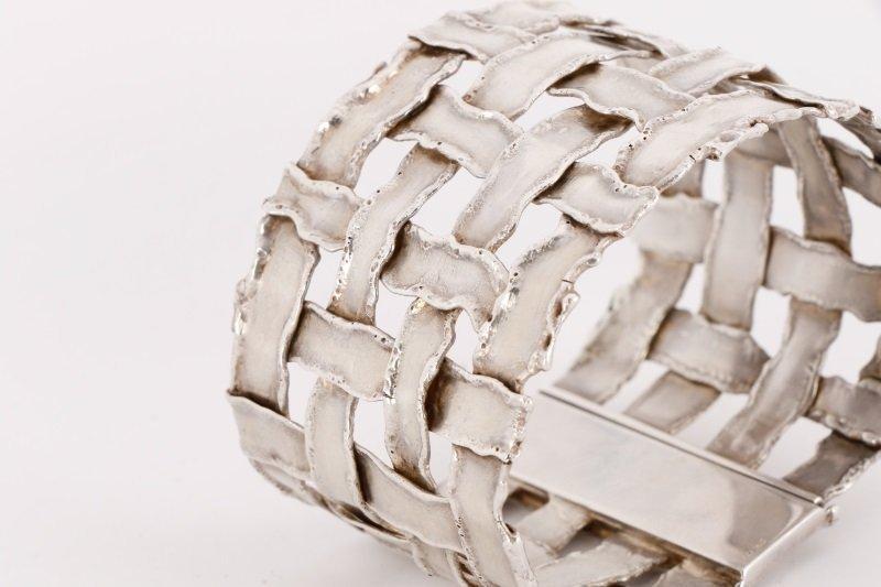 Cummings Style Woven Sterling Silver Bracelet - 4