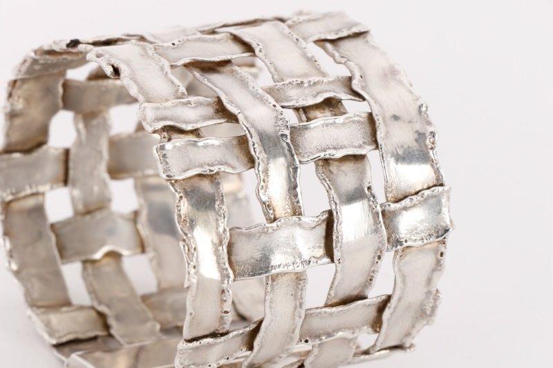 Cummings Style Woven Sterling Silver Bracelet - 5