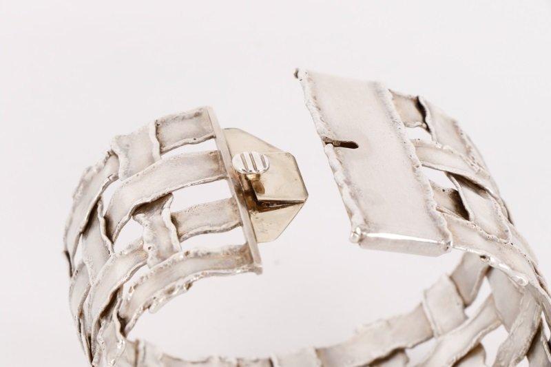 Cummings Style Woven Sterling Silver Bracelet - 6