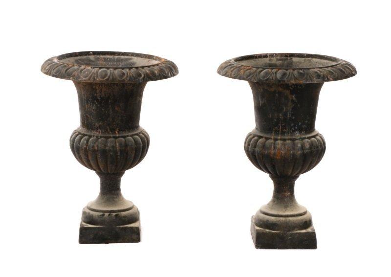 Pair Of Cast Iron Gadrooned Garden Urns