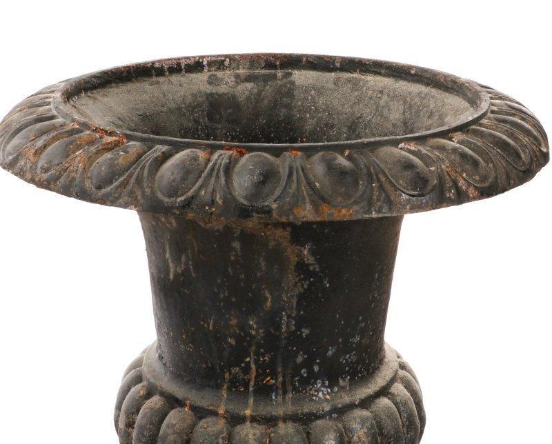 Pair Of Cast Iron Gadrooned Garden Urns - 5