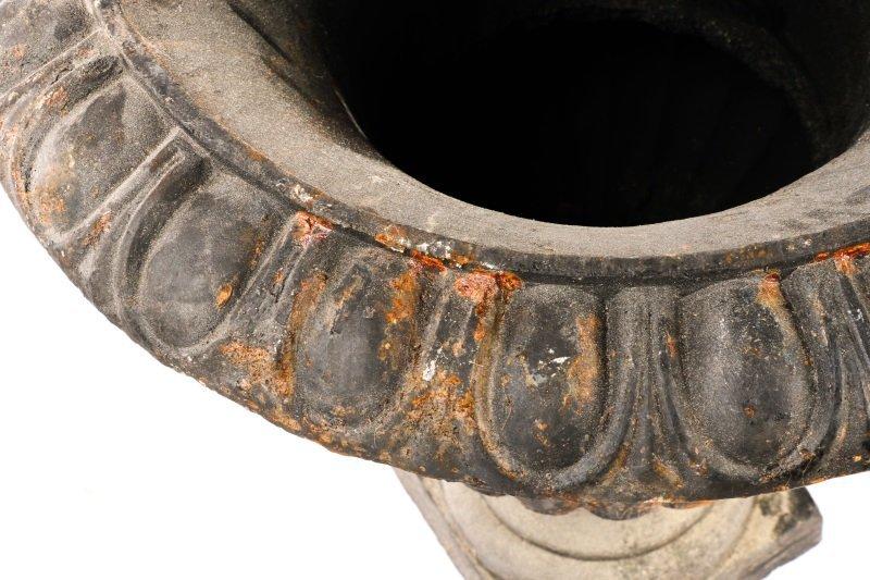 Pair Of Cast Iron Gadrooned Garden Urns - 6