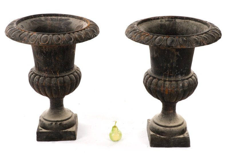 Pair Of Cast Iron Gadrooned Garden Urns - 8