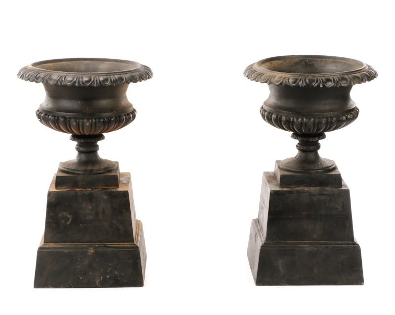 Pair Of Cast Iron Gadrooned Garden Urns On Stands - 2
